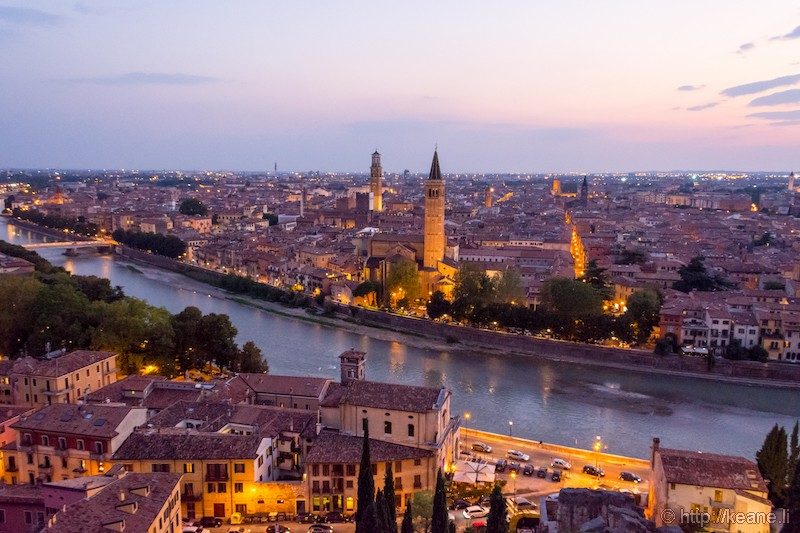 Night View of Verona from the Castel San Pietro