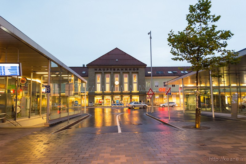 Villach Hauptbahnhof (Main Train Station) in the Rain
