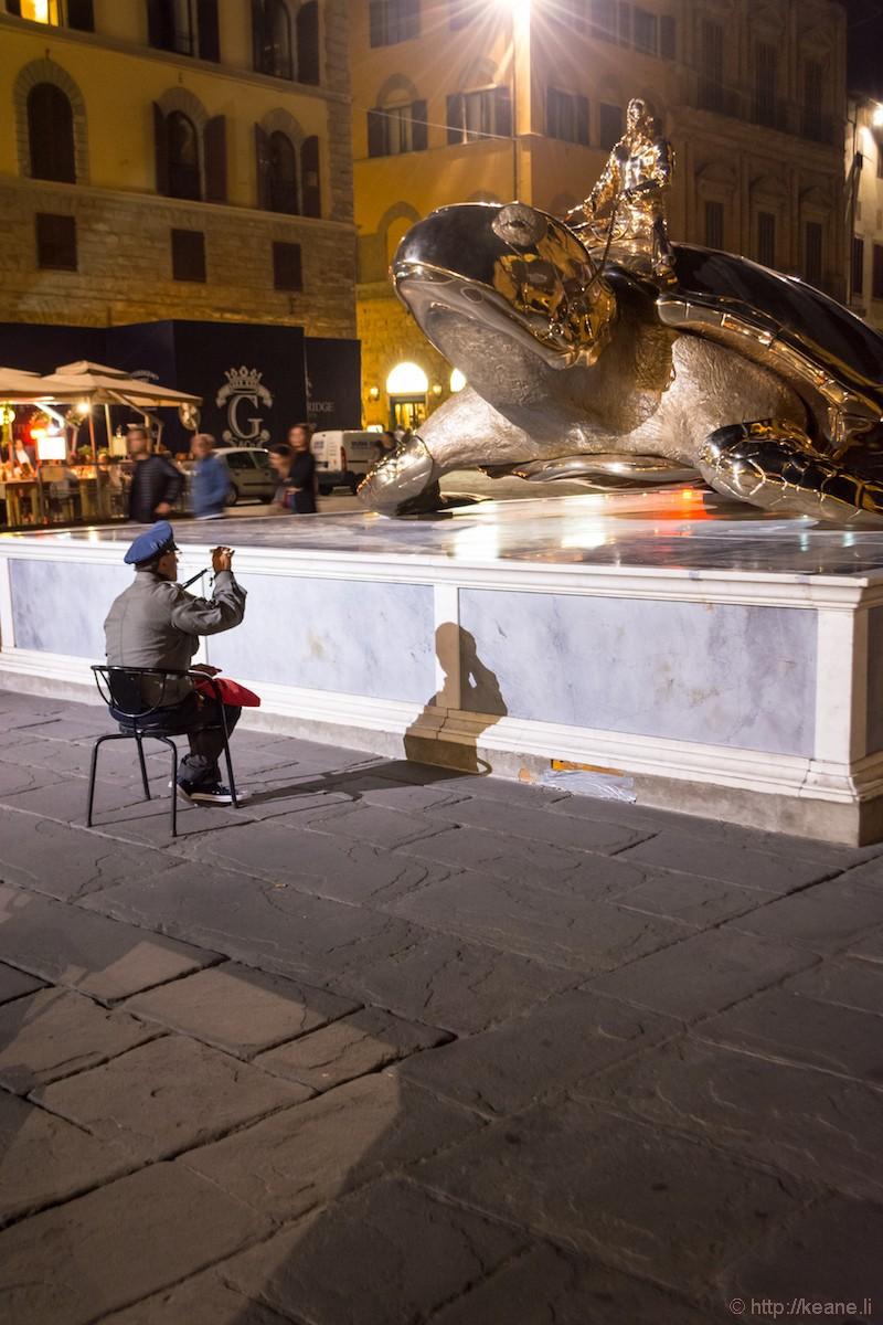 Jan Fabre Giant Gold Turtle Sculpture in Piazza della Signoria