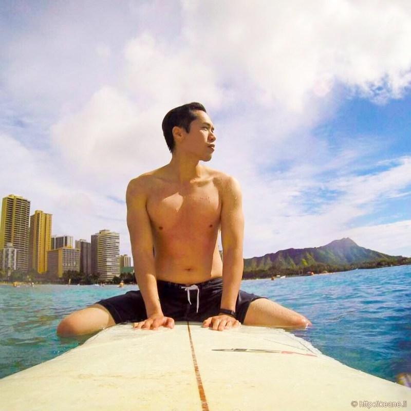 Surfing in Waikiki on Oahu