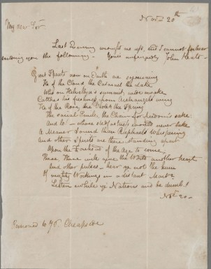 Keats to Haydon, 20 Nov 1816. John Keats Collection, 1814-1891 (MS Keats 1.3). Houghton Library, Harvard University.