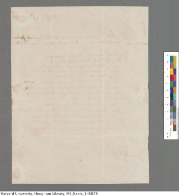 The reverse side of Keats's letter.