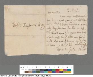 Keats to Taylor and Hessey, 12/13 Apr 1817. Keats Collection, 1814-1891 (MS Keats 1.6). Houghton Library, Harvard University.