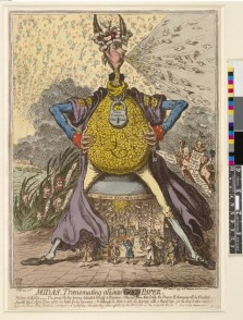 James Gillray's Midas Transmuting all into Paper (9 Mar 1797). Courtesy the Trustees of the British Museum.
