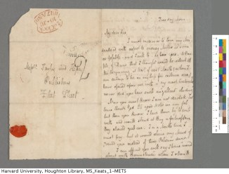 Page 1 of Keats's 10 June 1817 letter to Taylor and Hessey. Keats Collection, 1814-1891 (MS Keats 1.9). Houghton Library, Harvard University.