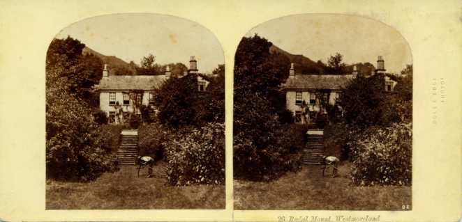 Stereograph by Thomas Ogle and Thomas edge, showing Rydal Mount (the home of Wordsworth until his death in 1850).