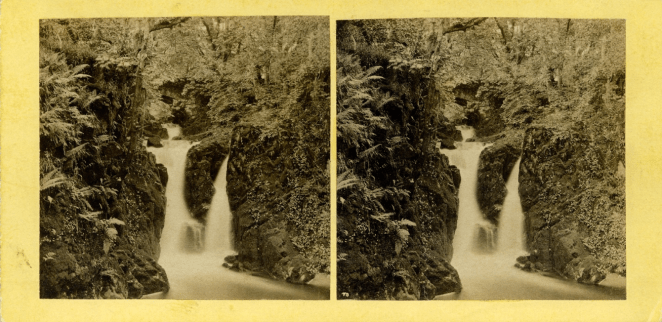 Stereograph by Thomas Ogle, showing the Lower Fall in Rydal Park.