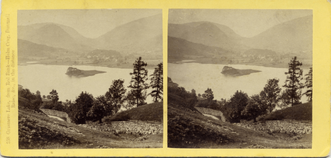 Stereograph by Thomas Ogle, showing Grasmere Lake, from Red Bank—Helm Crag, Dunmail Raise, etc., in the distance.