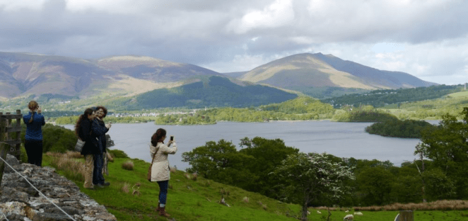Photo by Jeff Cowton from May 2015, showing the view of Derwent Water and Blencathra from Brandelhow.