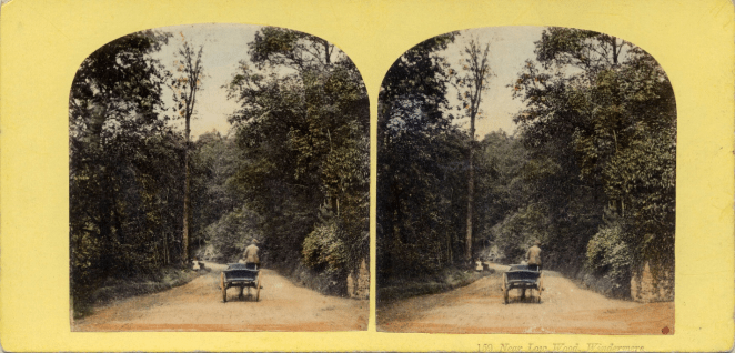 Stereograph by Thomas Ogle and Thomas Edge, showing a lane in 1858 resembling the one Keats would have traveled forty years earlier.