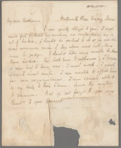 Image of Keats's letter to Woodhouse.