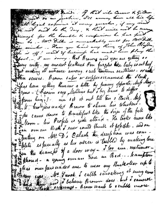 Image of the third page of the manuscript of Brown and Keats's letter to Charles and Maria Dilke, 24 January 1819.