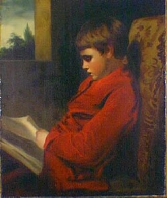 Painting of a young boy reading a book.