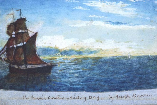 A watercolor by Joseph Severn of the Maria Crowther, the ship that took Severn and Keats to Italy in September and October 1820