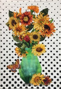 Sunflowers in Green Vase