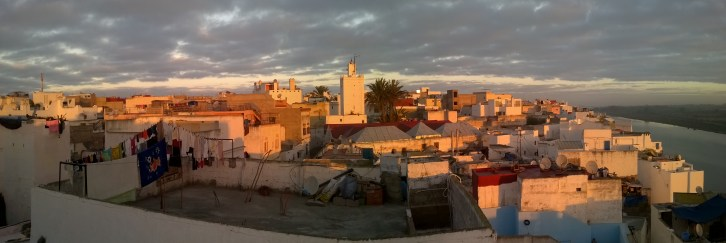 Sunset view from the rooftop of our hotel in the Azemmour Médina