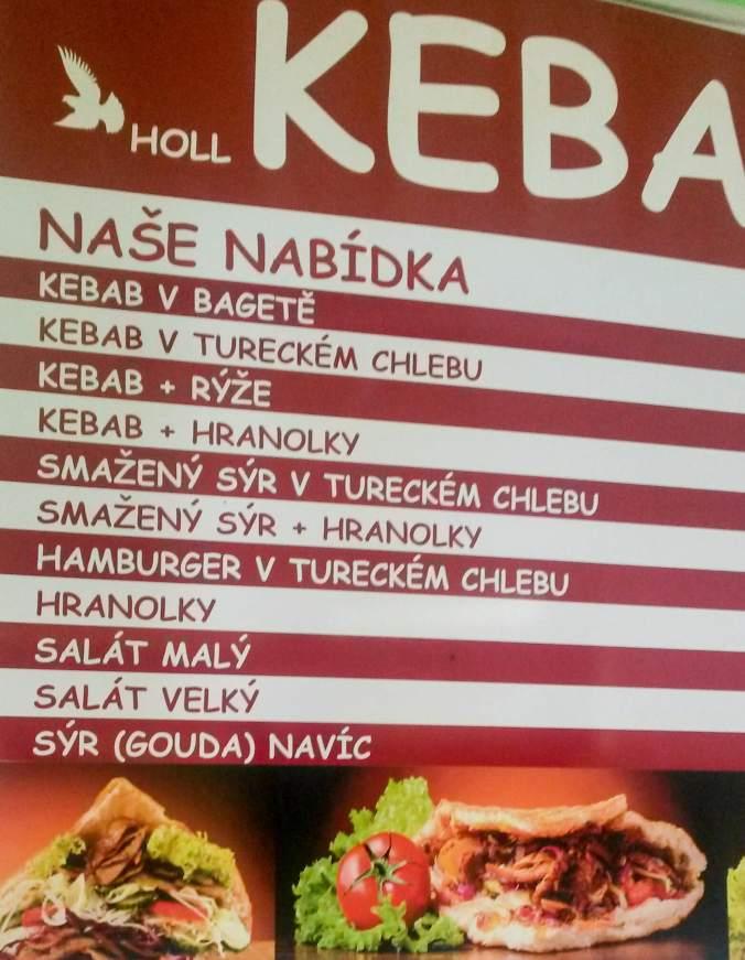Nabídka kebabárny - Holl Kebab (Chabařovice)