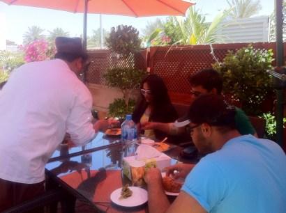 Enjoying Pani Puri for starters at Kebab Bistro