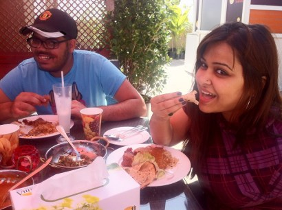 Sapna & Sachneet enjoy the Parsi buffet