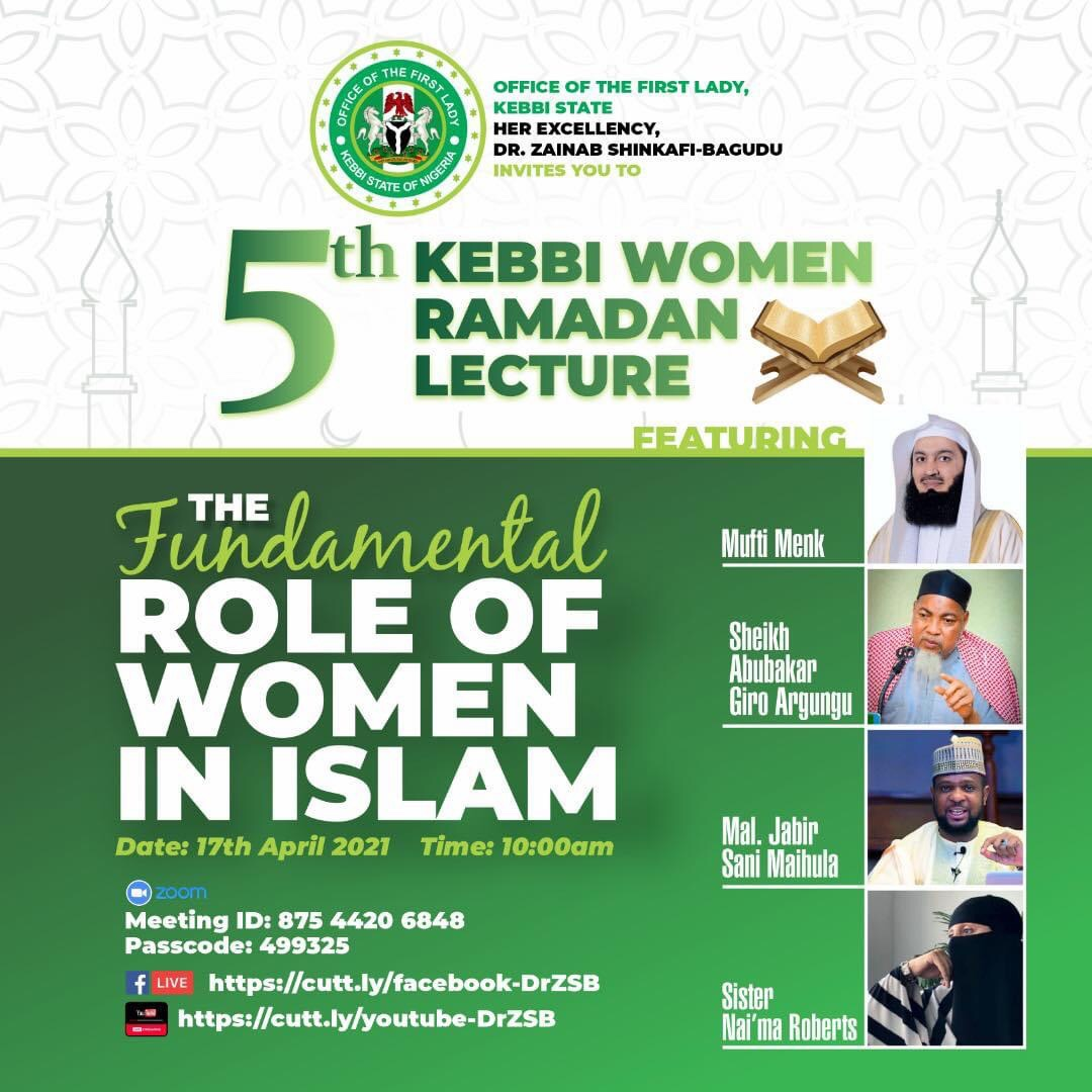 Registration begins for 5th KEBBI WOMEN RAMADAN LECTURE