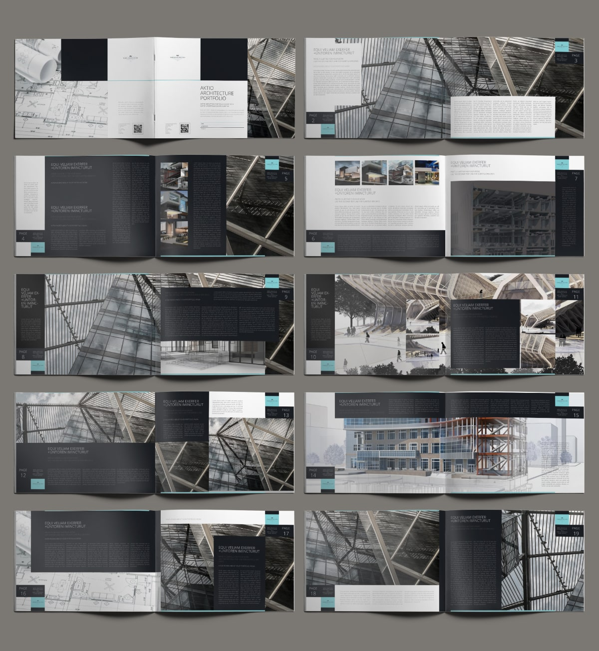 Aktio Architecture Portfolio A4 Landscape - Layouts
