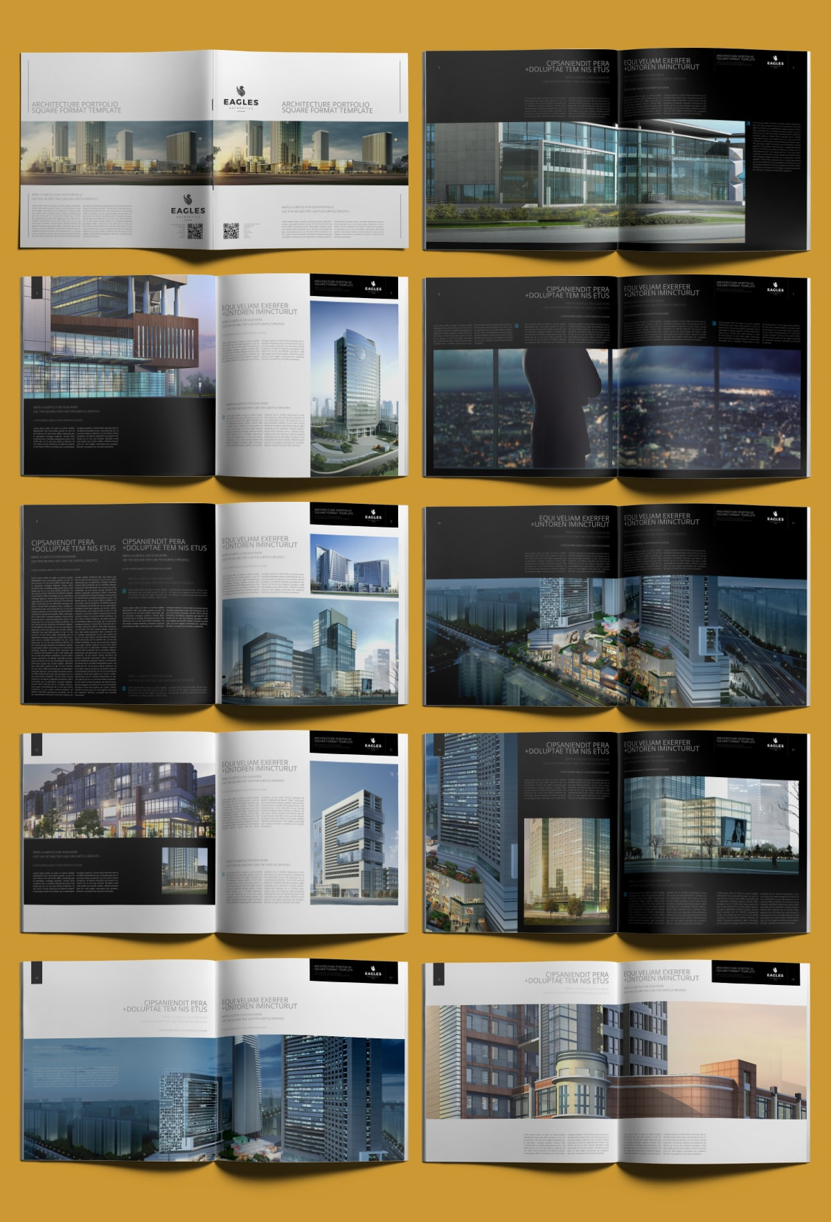 Architecture Portfolio Square Format Template - Layouts