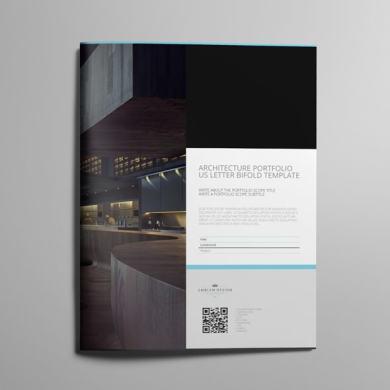 Architecture Portfolio US Letter Bifold Template – kfea 1-min