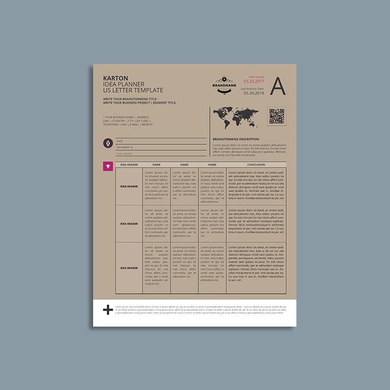 Karton Idea Planner US Letter Template