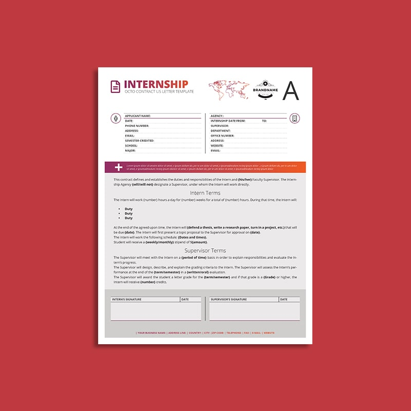 Octo Internship Contract US Letter Template