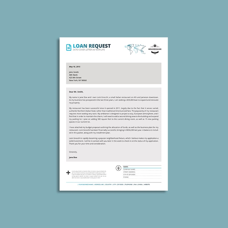 Octo Loan Request Cover Letter A4 Template | keboto org