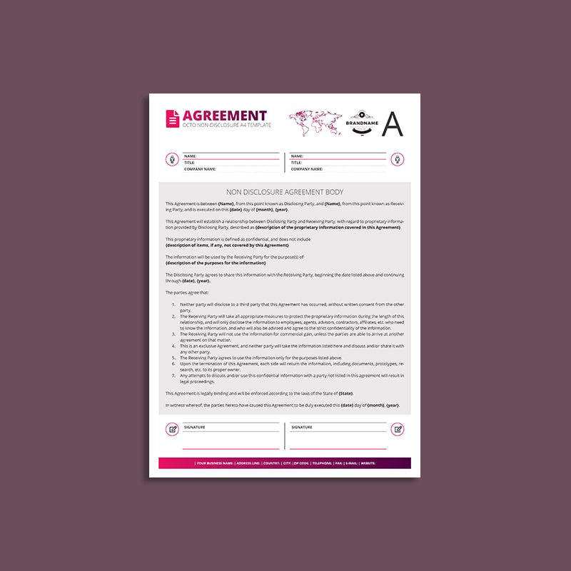 Octo Non-Disclosure Agreement A4 Template