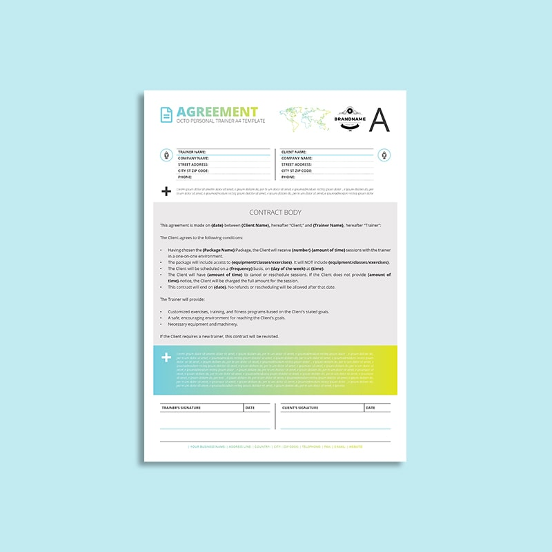 Octo Personal Trainer Agreement A4 Template