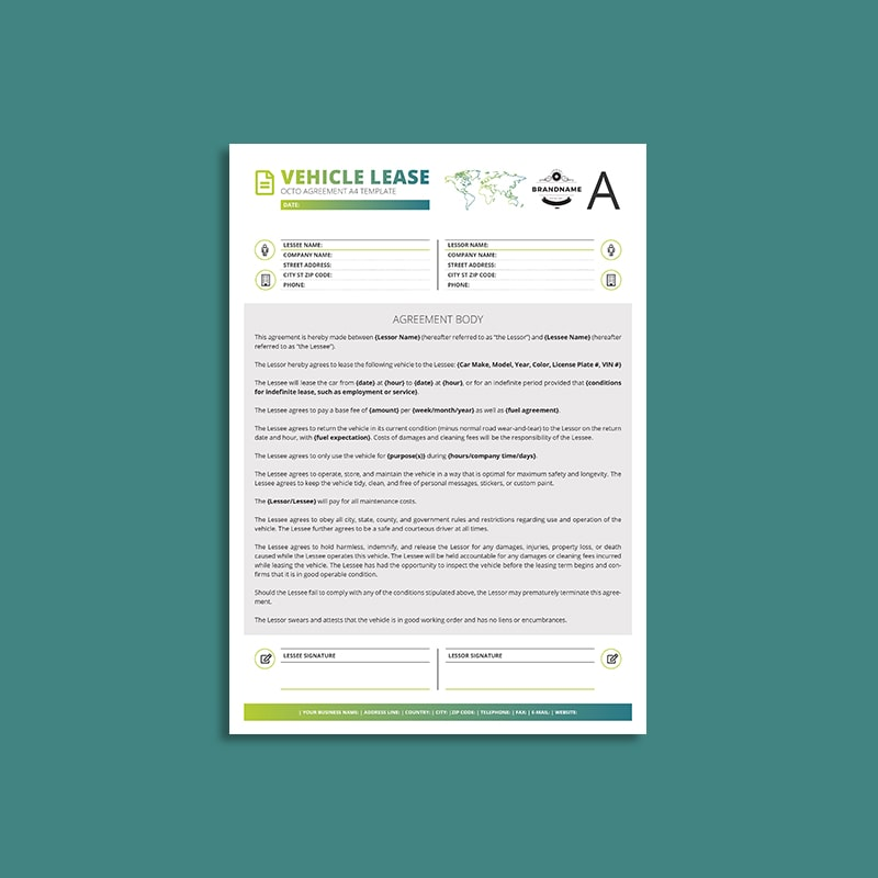 Octo Vehicle Lease Agreement A4 Template Keboto Org