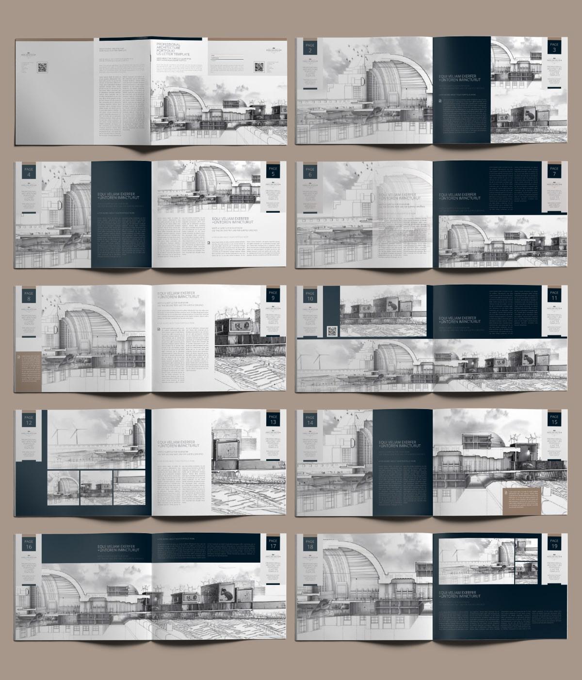Professional Architecture Portfolio US Letter Template - Layouts