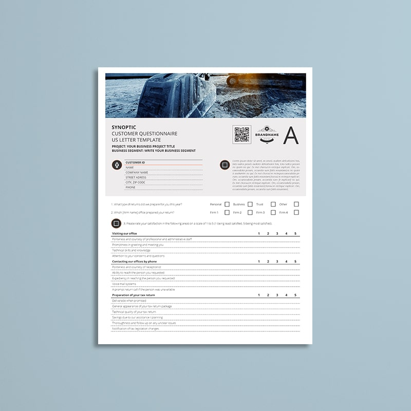 Synoptic Customer Questionnaire US Letter Template