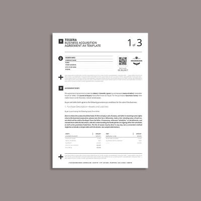 Tessera Business Acquisition Agreement A4 Template