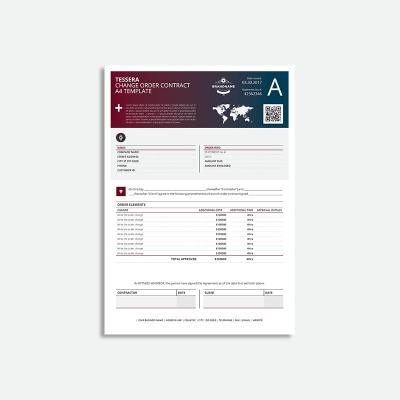 Tessera Change Order Contract A4 Template