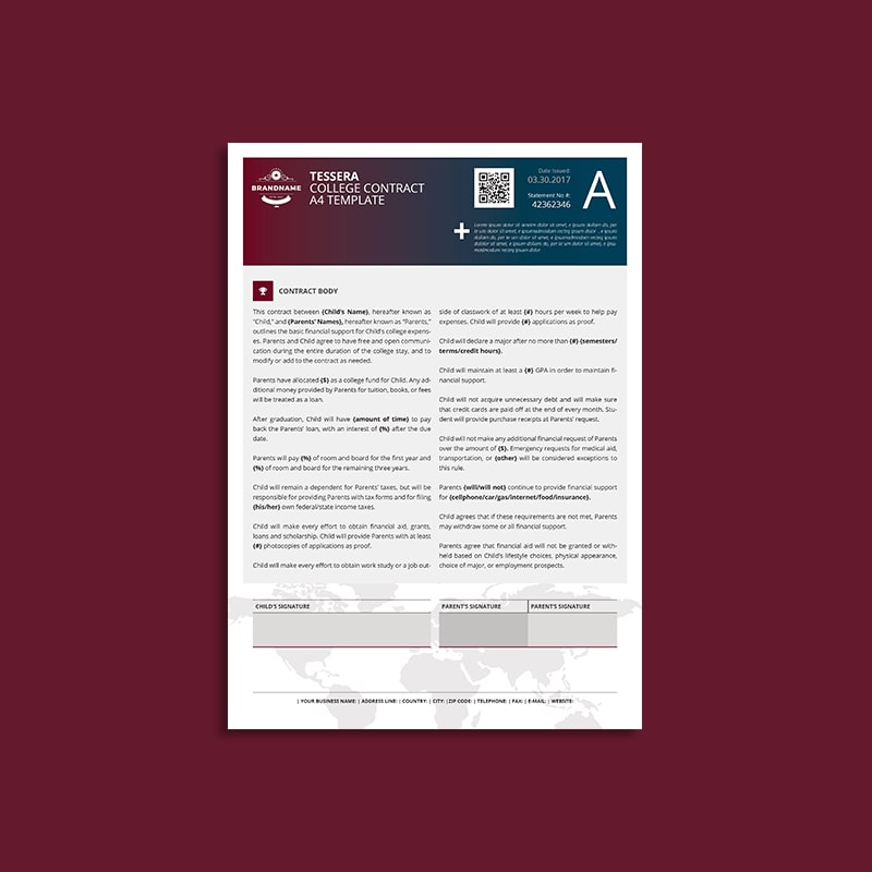 Tessera College Contract A4 Template