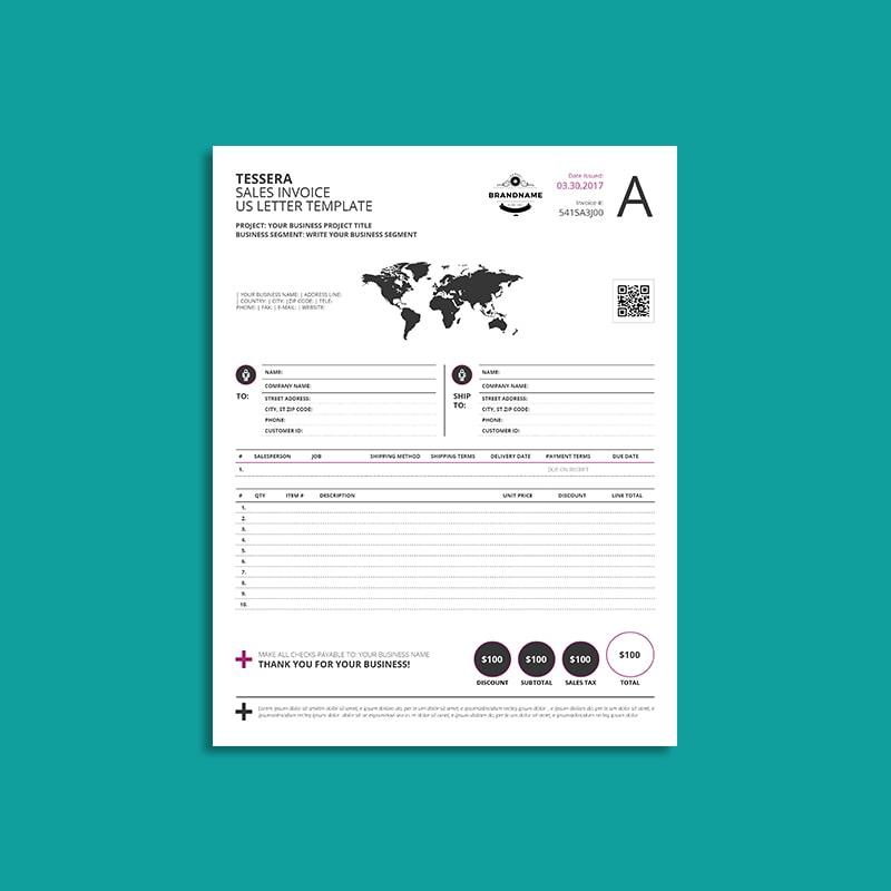 Tessera Sales Invoice US Letter Template