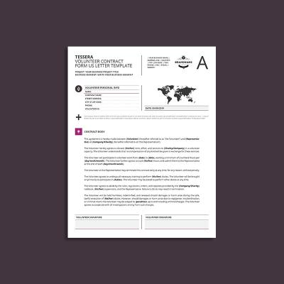 Tessera Volunteer Contract Form US Letter Template