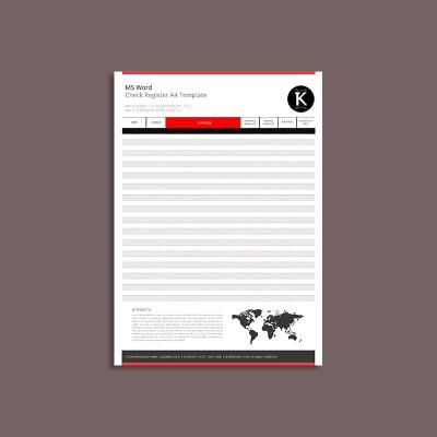 MS Word Check Register A4 Template