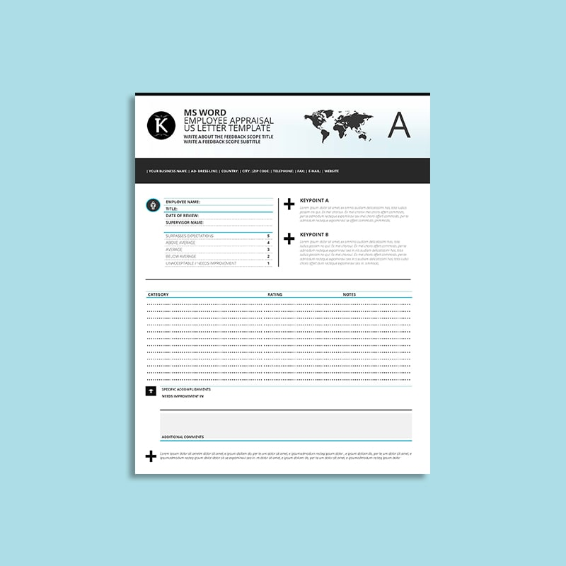 MS Word Employee Appraisal US Letter Template