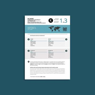 MS Word Land Sale Contract A4 Template