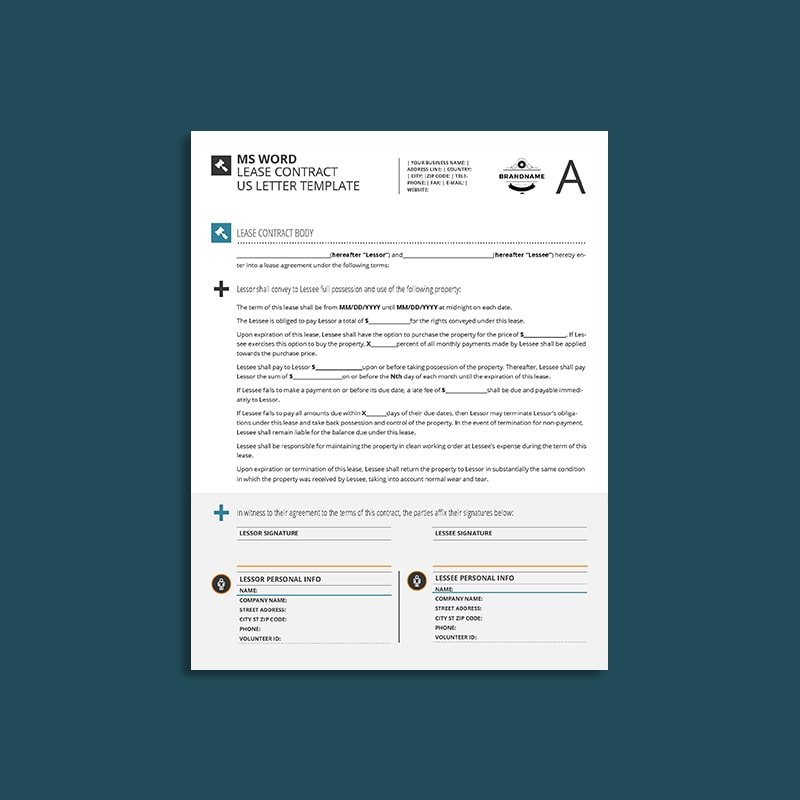 MS Word Lease Contract US Letter Template