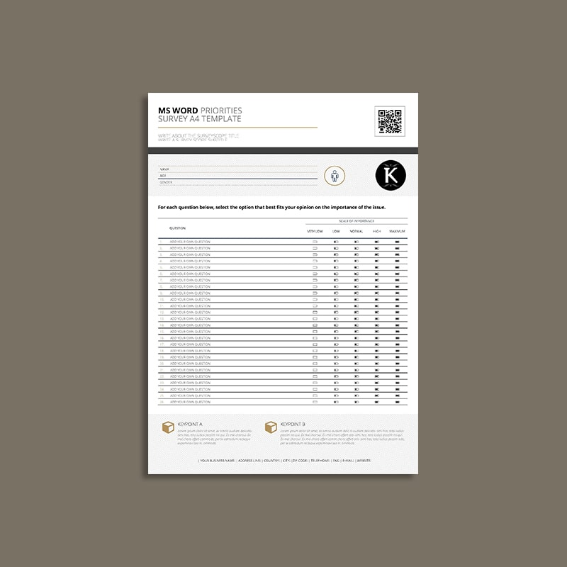 MS Word Priorities Survey A4 Template