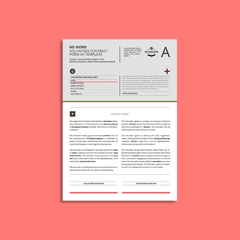 MS Word Volunteer Contract Form A4 Template