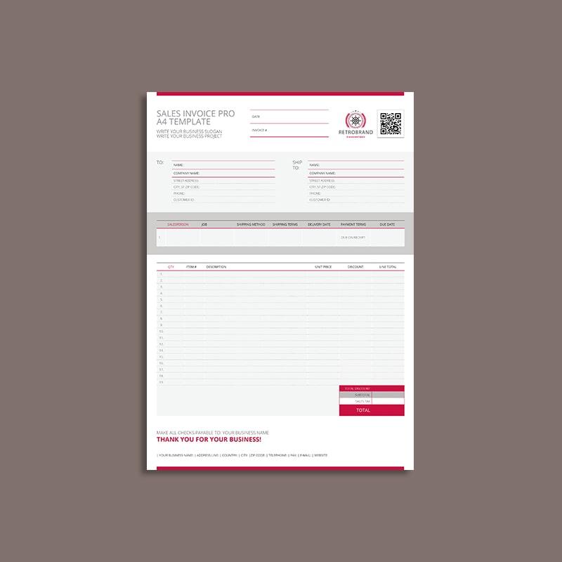 Sales Invoice Pro A4 Template