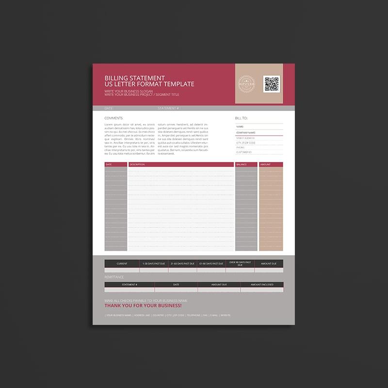 Billing Statement US Letter Format Template