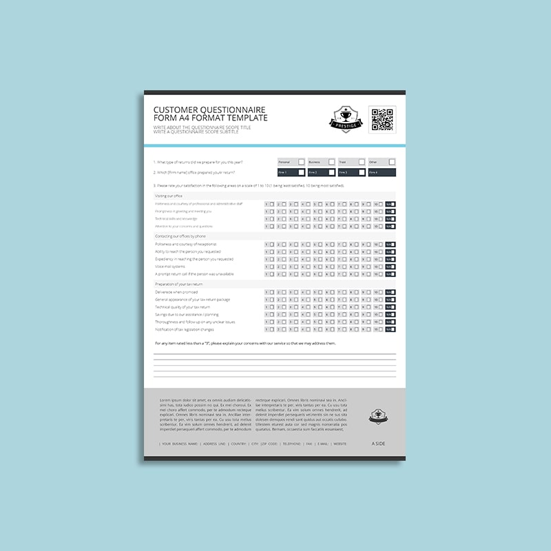 Customer Questionnaire Form A4 Format Template