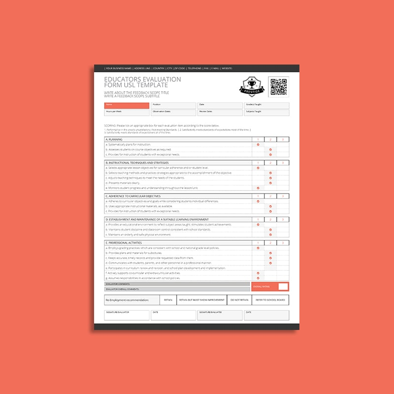 Educators Evaluation Form USL Template
